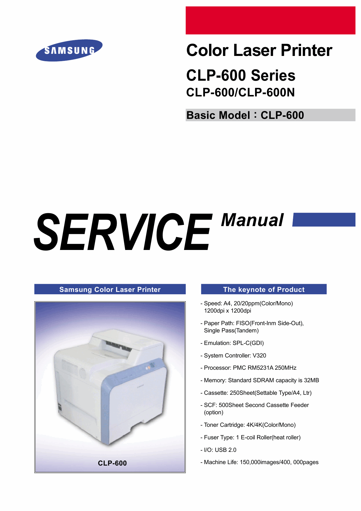 Samsung Color-Laser-Printer CLP-600 600N Parts and Service Manual-1